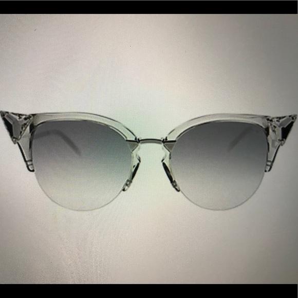 7606b0de104 NWT FENDI Crystal Cat Eye Sunglasses 52 mm